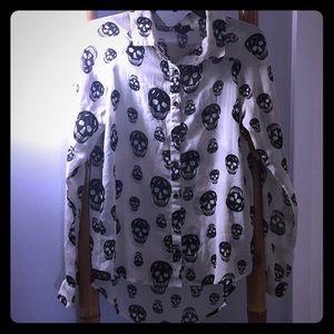 Fun & Flirt Sheer Beige Black Skull Blouse SZ Med
